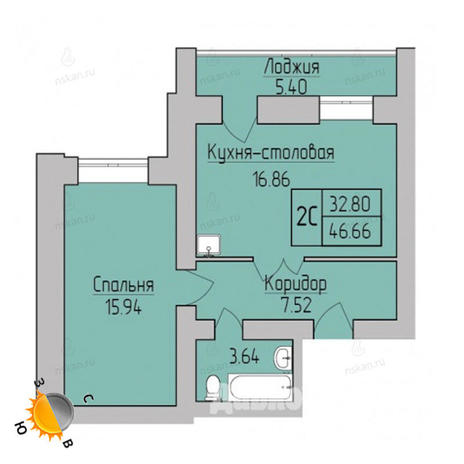 Вариант №1702, 2-комнатная квартира в жилом комплексе Дивногорский