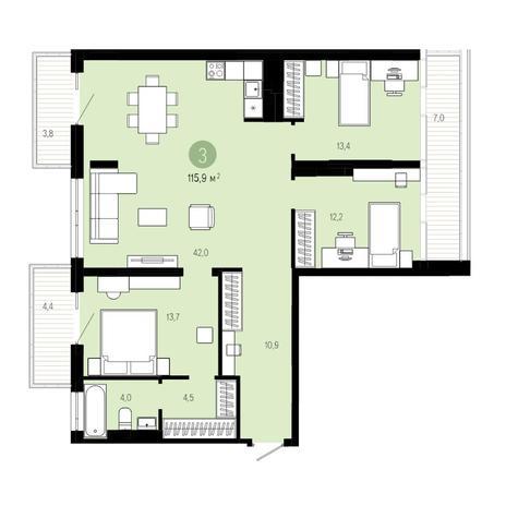 Вариант №4827, 4-комнатная квартира в жилом комплексе Европейский Берег