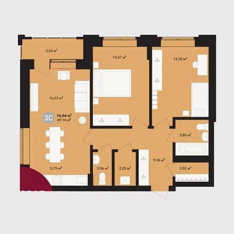 Вариант №5230, 3-комнатная квартира в жилом комплексе