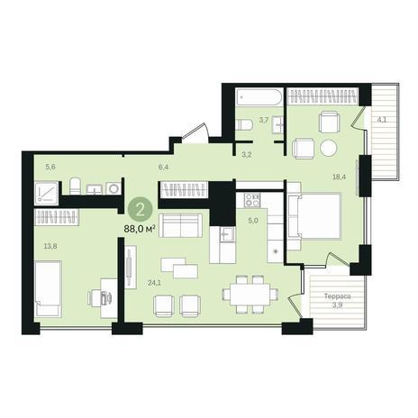 Вариант №6351, 3-комнатная квартира в жилом комплексе