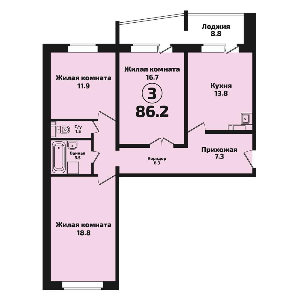 Планировка 3-комнатная площадью 86 м<sup>2</sup> в ЖК Инфинити