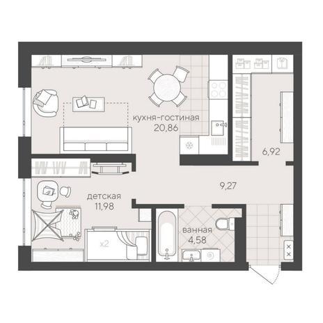 Вариант №6188, 2-комнатная квартира в жилом комплексе
