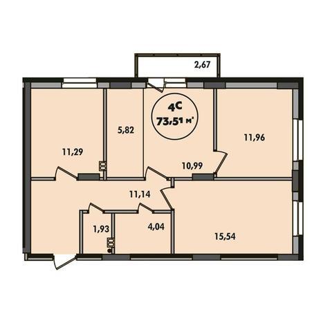 Вариант №5496, 4-комнатная квартира в жилом комплексе