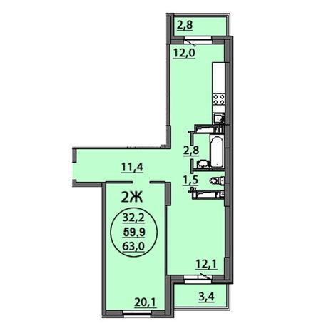 Вариант №2512, 2-комнатная квартира в жилом комплексе