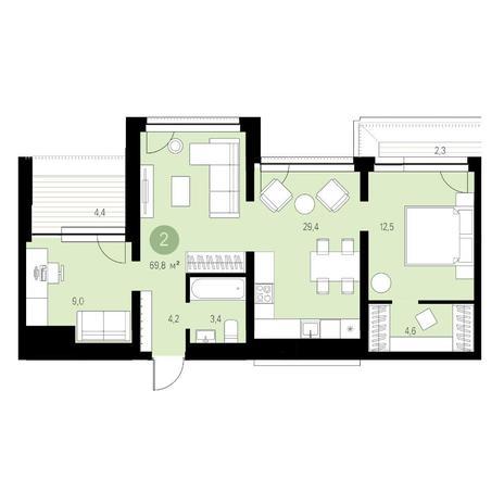 Вариант №4632, 3-комнатная квартира в жилом комплексе