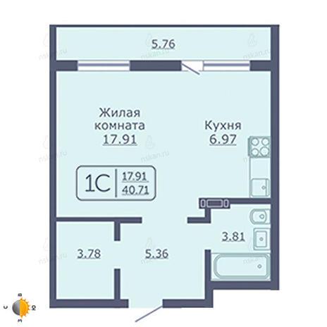 Вариант №2044, 1-комнатная квартира в жилом комплексе