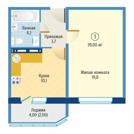 Вариант №6083, 1-комнатная квартира в жилом комплексе