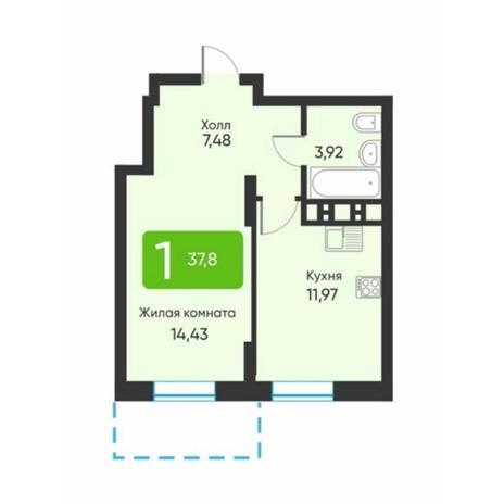 Вариант №5872, 1-комнатная квартира в жилом комплексе