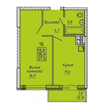 Вариант №5637, 1-комнатная квартира в жилом комплексе