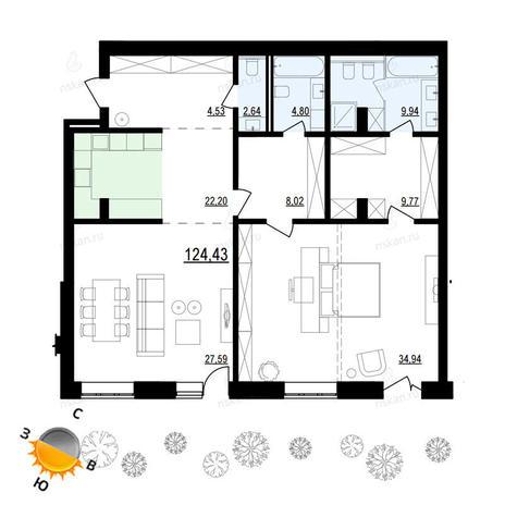 Вариант №885, 2-комнатная квартира в жилом комплексе Жуковка