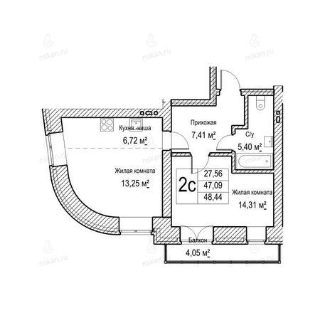Вариант №1044, 2-комнатная квартира в жилом комплексе Потанинская 2