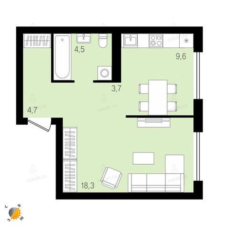 Вариант №2145, 1-комнатная квартира в жилом комплексе На Декабристов