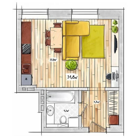 Вариант №3943, 1-комнатная квартира в жилом комплексе БонАпарт
