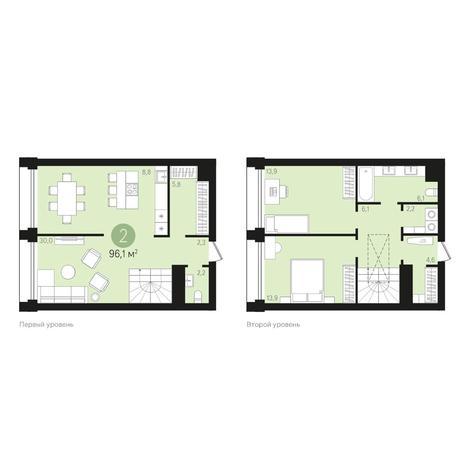 Вариант №4018, 3-комнатная квартира в жилом комплексе