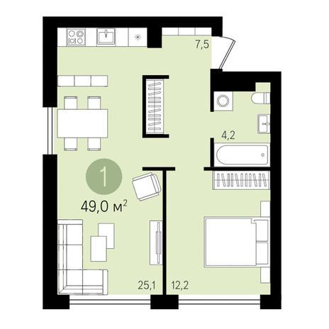 Вариант №3314, 1-комнатная квартира в жилом комплексе Дунаевский