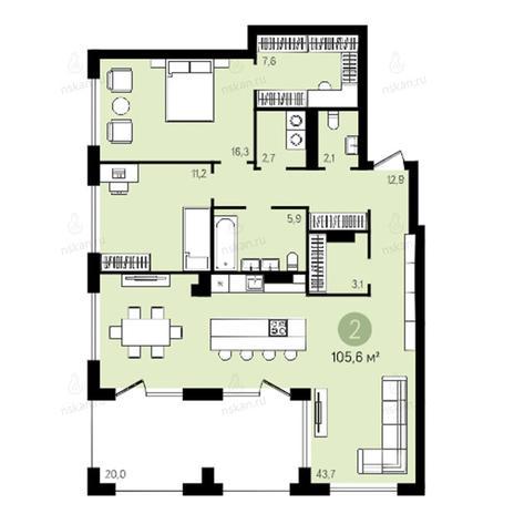 Вариант №2649, 3-комнатная квартира в жилом комплексе Квартал на Никитина