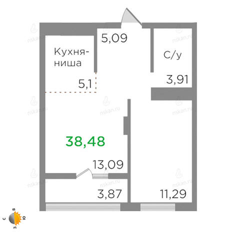 Вариант №2126, 2-комнатная квартира в жилом комплексе
