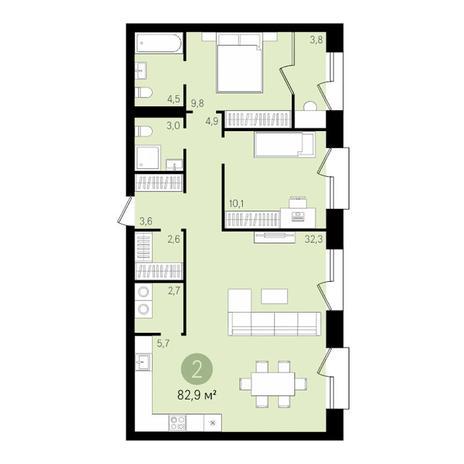 Вариант №3482, 4-комнатная квартира в жилом комплексе Оазис