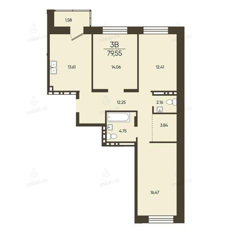 Вариант №2575, 3-комнатная квартира в жилом комплексе Статус