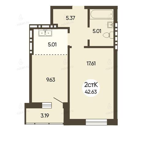 Вариант №2501, 2-комнатная квартира в жилом комплексе