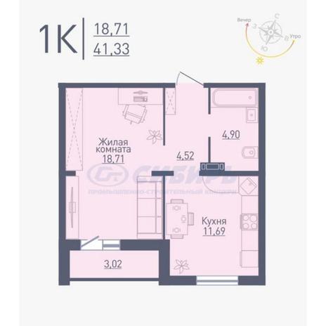 Вариант №4776, 1-комнатная квартира в жилом комплексе