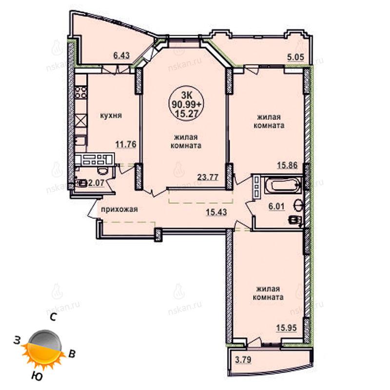 Планировка 3-комнатная площадью 90.99 м<sup>2</sup> в ЖК Заельцовский