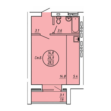 Вариант №3601, 1-комнатная квартира в жилом комплексе
