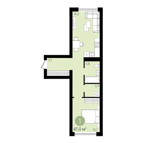 Вариант №3281, 1-комнатная квартира в жилом комплексе