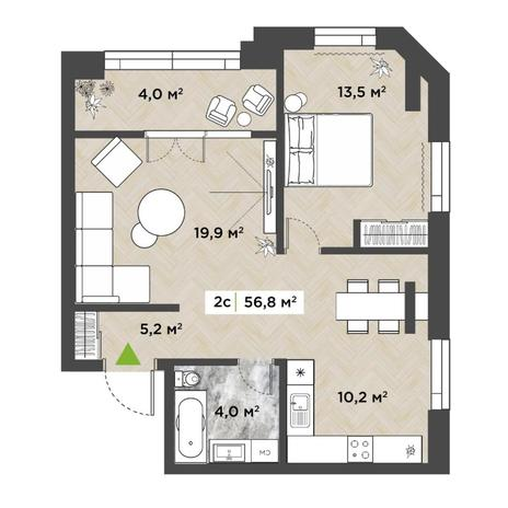 Вариант №5851, 2-комнатная квартира в жилом комплексе
