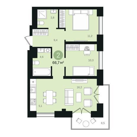 Вариант №6334, 3-комнатная квартира в жилом комплексе