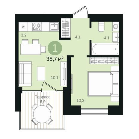 Вариант №6353, 2-комнатная квартира в жилом комплексе