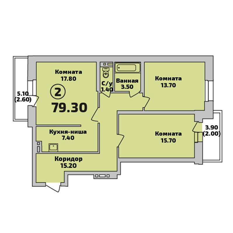 Планировка 2-комнатная площадью 79.3 м<sup>2</sup> в ЖК Родники