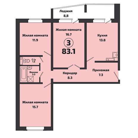 Вариант №3808, 3-комнатная квартира в жилом комплексе Пшеница