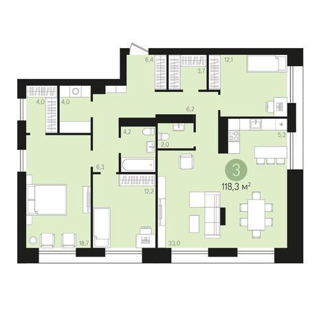 Вариант №4014, 4-комнатная квартира в жилом комплексе