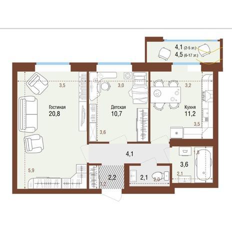 Вариант №4226, 2-комнатная квартира в жилом комплексе Ясный берег