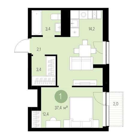 Вариант №4652, 2-комнатная квартира в жилом комплексе Акварельный 3.0