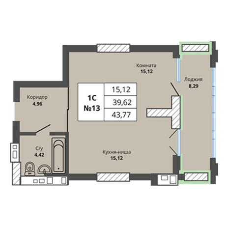 Вариант №2962, 1-комнатная квартира в жилом комплексе