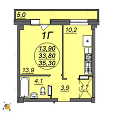 Вариант №2355, 1-комнатная квартира в жилом комплексе