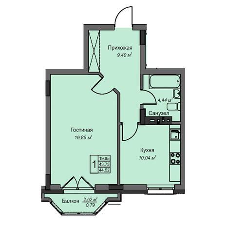 Вариант №3076, 1-комнатная квартира в жилом комплексе