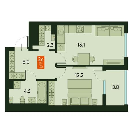 Вариант №6671, 2-комнатная квартира в жилом комплексе