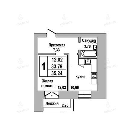 Вариант №1030, 1-комнатная квартира в жилом комплексе ГринАрт
