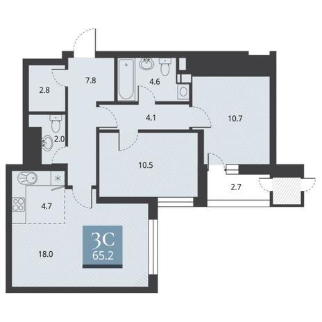 Вариант №5669, 3-комнатная квартира в жилом комплексе