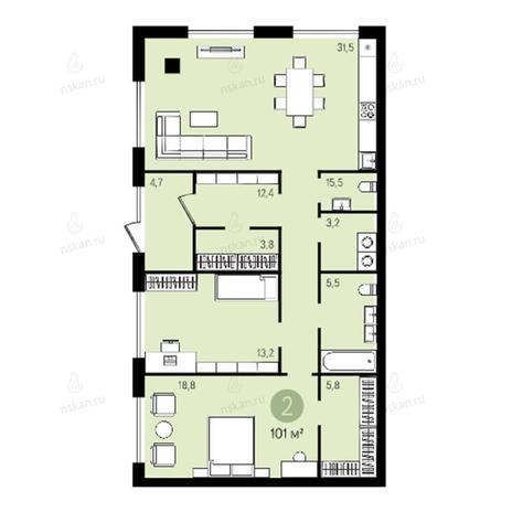Вариант №2636, 3-комнатная квартира в жилом комплексе