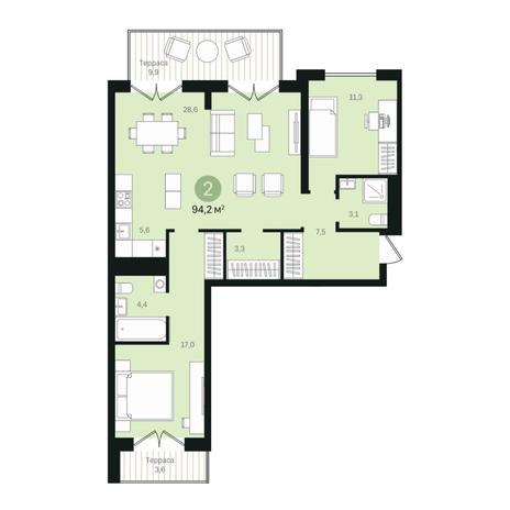 Вариант №6355, 3-комнатная квартира в жилом комплексе
