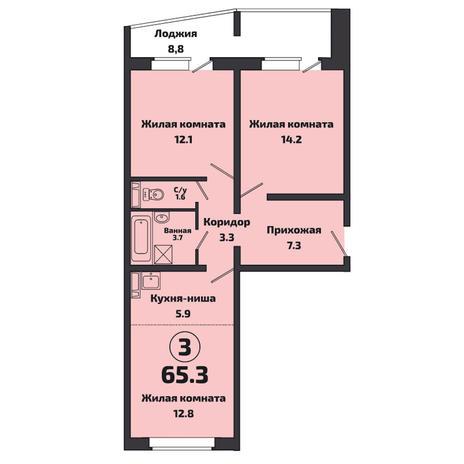 Вариант №3806, 3-комнатная квартира в жилом комплексе Приозерный