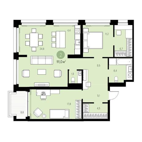 Вариант №5461, 3-комнатная квартира в жилом комплексе