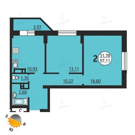 Вариант №1379, 2-комнатная квартира в жилом комплексе Фрунзе 49