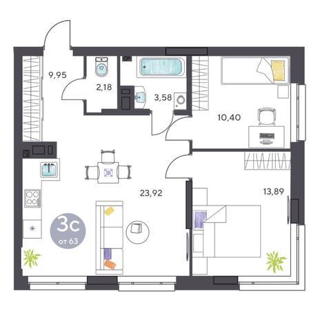 Вариант №5408, 3-комнатная квартира в жилом комплексе