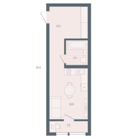 Вариант №5904, 1-комнатная квартира в жилом комплексе