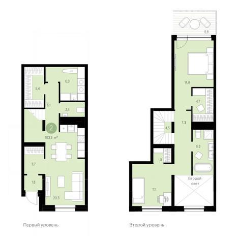 Вариант №4698, 3-комнатная квартира в жилом комплексе